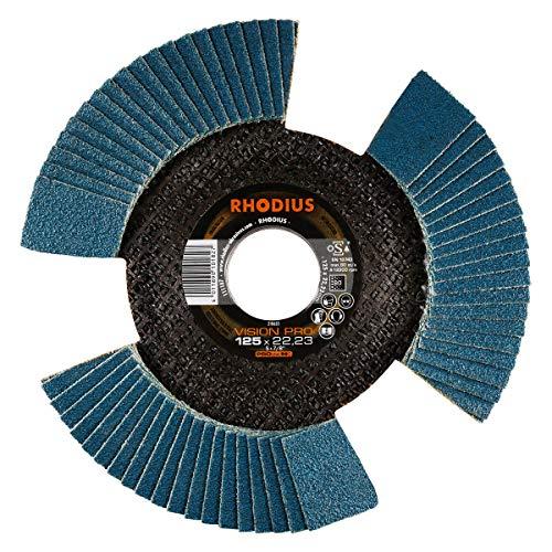 RHODIUS INOX Fächerschleifscheibe VISION PRO Made in Germany Ø 125 mm K80 für Winkelschleifer 10 Stück
