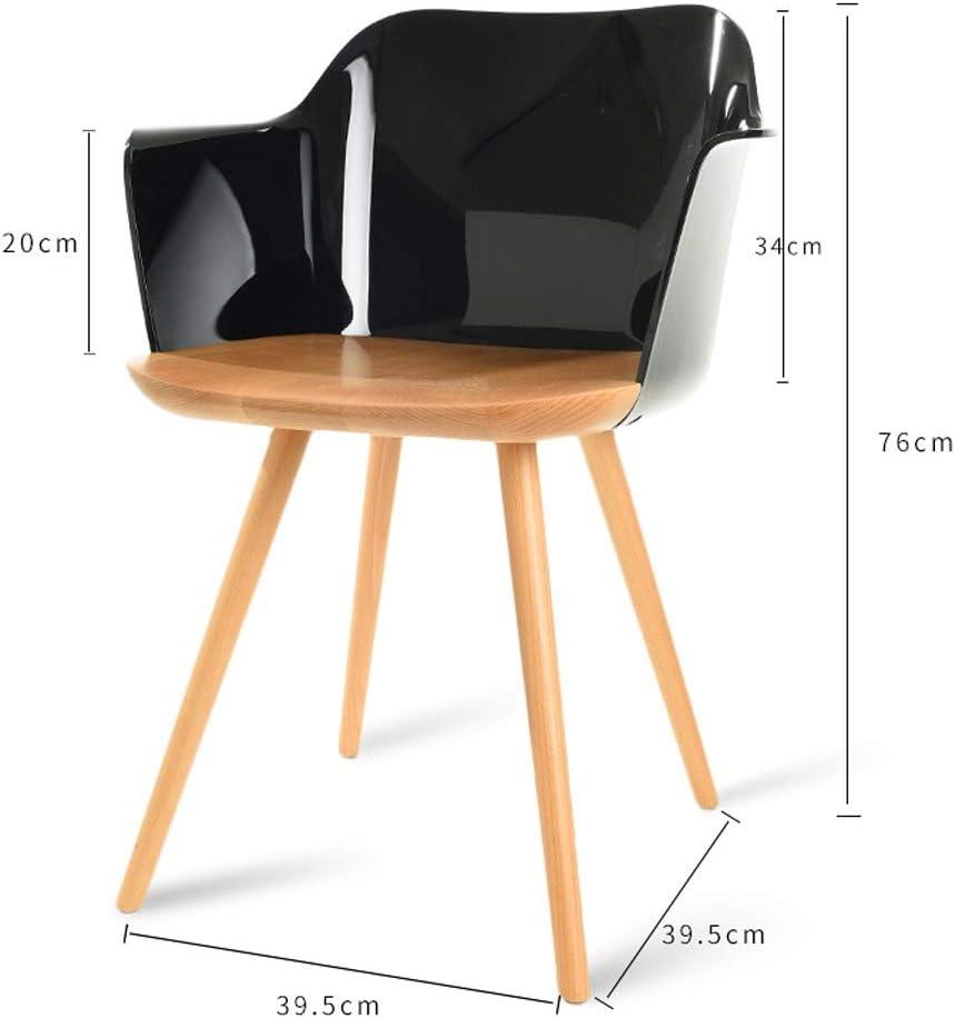 HXF- Chaise de salle à manger, chaise de bureau simple, dossier créatif, chaise de loisirs, chaise de salle à manger pour adulte durable (couleur : transparente) Noir