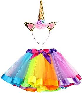 Ruiuzi Glitzerndes Einhorn-Tutu Regenbogenrock und Einhorn-Stirnband Outfit für Mädchen Geburtstag Party Kostüme Set