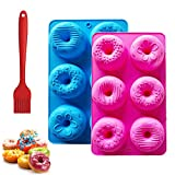 Donut Pans, Doughnut Pan Set of 2 with 1PC Oil Brush, 2.8 Inch Cavity Nonstick Silicon Donut Pan for Baking Donuts, Bagels,Cake, Biscuit and Making Soap