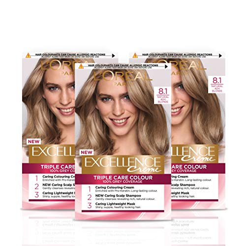 L Oréal Paris Excellence Crème Permanent Hair Dye, Radiant At-Home Hair Colour with up to 100% Grey Coverage, Pro-Keratin, Up to 8 Weeks of Colour, Pack of 3, Colour: 8.1 Natural Ash Blonde