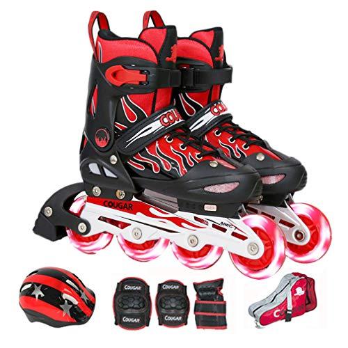 Wangxst Inline Skates beschermingsuitrusting, in grootte verstelbaar, stootvaste teenkap, slagvast, voor meisjes en jongens, zeer elastisch, slijtvast PU-wiel, kinderen