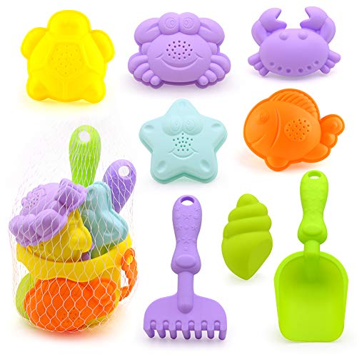 3 otters Beach Toys Set, Baby Beach Toys Baby Bath Toys Beach Shovels RakesTool Kit Sand Bucket Boys and Girls Beach Toys Set 9PCS