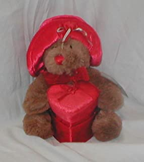 Victorian Soft Beautiful Valentines Bear with Velvet Hat Holding Red Velvet and Satin Heart Box