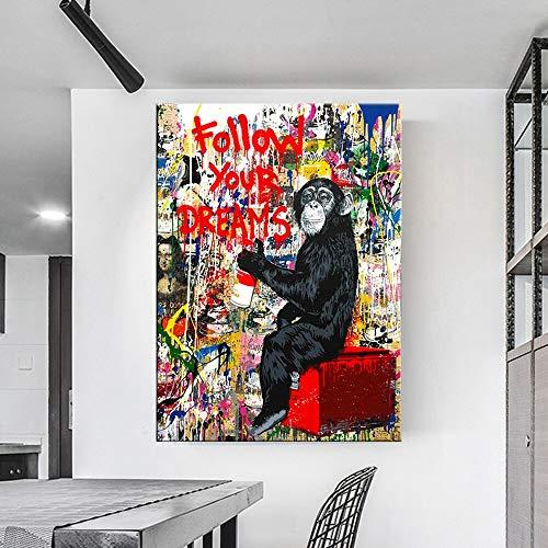 hetingyue Monkey Street Art Poster Folgen Sie Ihren Träumen HD Modernes Ölgemälde Wand Leinwanddrucke Wohnzimmer Dekoration Rahmenlose Malerei 70X100CM