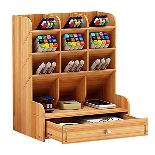 Swadal Portalápices de madera con varios compartimentos para guardar bolígrafos o bolígrafos, para escritorio, de oficina, de D.
