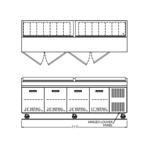 """Randell 84111N Refrigerated Raised Rail Prep Table 111""""L with (4) Doors & (14) 1/3 Size Pan Capacity"""