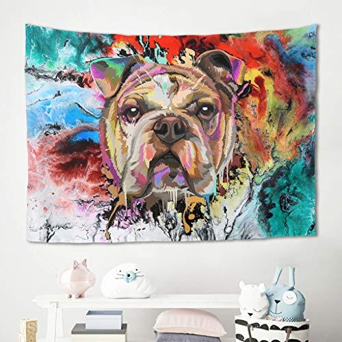 Gamoii Tapiz de pared con diseño de bulldog inglés, multicolor, manta de pícnic, manta de playa, meditación, yoga, manta de pared de alta calidad, manta blanca de 100 x 150 cm