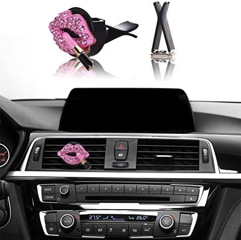 MINI-FACTORY Bling Car Interior Decoration, Car Air Vent Rhinestone Diamond Decoration - Red Lipstick