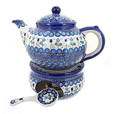Blue Rose Polish Pottery Savannah Teapot with Warmer and Candle Holder