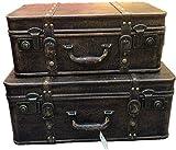 LHSUNTA Juego Duradero de 2 baratijas de Maleta Vintage o Caja de Memoria para decoración de Fiestas, Almacenamiento de Joyas (marrón) Proyecto de artesanía (Color: marrón, tamaño: Grande