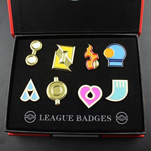 Pokemon Set 8 Medallas Pins Liga Hoenn / Pokemon Hoenn Gym Badges set of 8