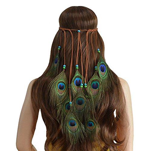 TanQiang Bohemian Feather Headband Hippie Headdress Hair Accessories Peacock Feather Headband for Women Halloween Headwear (Green)