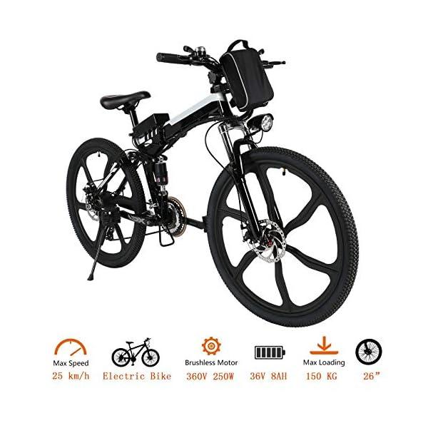 511Ryg6BQ5L. SS600  - Oppikle Faltbares E-Bike,36V 250W Elektrofahrräder, 8A Lithium Batterie Mountainbike,26 Zoll Große Kapazität Pedelec mit Lithium-Akku und Ladegerät