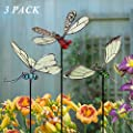 Juegoal 20 Inch Butterfly Garden Stakes Decor, Dragonfly Stakes, Hummingbird Glow in Dark Metal Yard Art, Indoor Outdoor Lawn Pathway Patio Ornaments, Set of 3