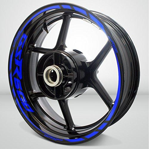 Stickman Vinyls Azul Brillante Motocicleta Moto Llanta Decal Accesorio Pegatinas Compatible con Suzuki GSR 600