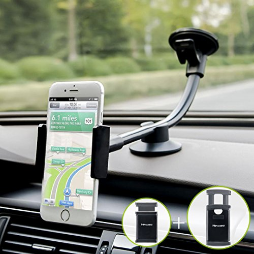 Car Phone Mount, Newward 2-in-1 Long Arm Windshield Dashboard Cell Phone Holder for Car Compatible with iPhone 12/12 Pro/11/Xs/XR/X/8 Plus/8/7/6, Galaxy S20/S10/S9/S9 /Note 10/S8, Huawei and More