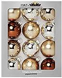 KREBS & SOHN Cult - Lot de 12 Boules de Noël en Verre (8cm de diamètre) - Décoration de Sapin de Noël - Brun et Argent
