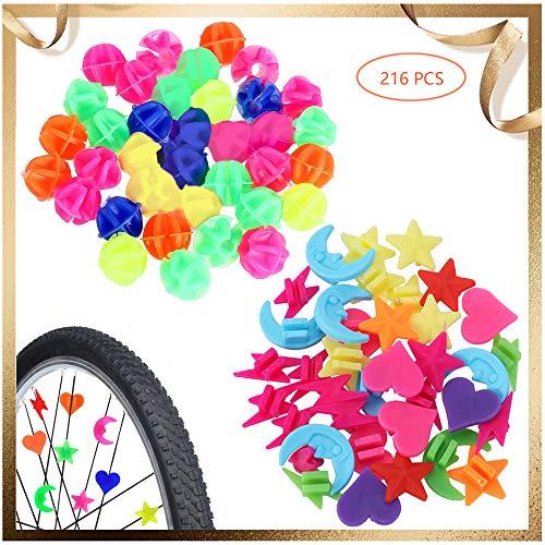 ALUYF 216 Stück Fahrrad Speichen Dekor Fahrrad Speichenperlen Fahrrad Kunststoff Clip Rad Fahrrad Speiche Clips Perlen für Fahrrad Roller Speichen Dekoration