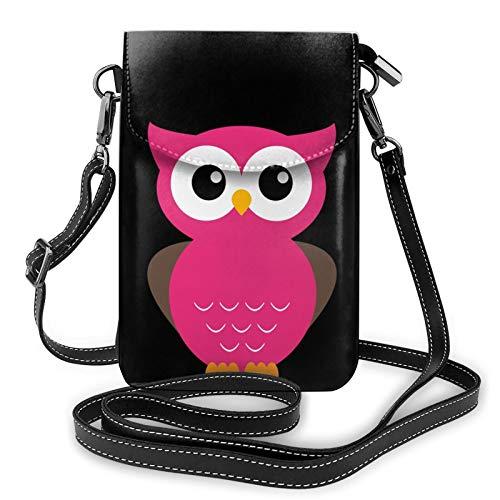 Bolso de teléfono con búho rosa, bolso de teléfono y cartera Crossbody, bolso cruzado para teléfono celular