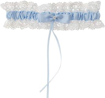 Figutsga Giarrettiera in pizzo da sposa romantico con fiocco elastico per gamba, accessori da sposa