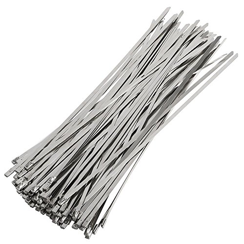 Yaheetech 100 Stück Stahlkabelbinder 300mm Kabelbinder Stahlband Edelstahl Hitzeschutzband Auspuffband