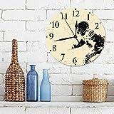 """12""""Horloge Muette Pendule Murale de Mode Cadre Joueur de rugby en action Course à pied Succès au terrain de jeu de l'arène Sport Meilleu,horloges pour la Maison Salon Cuisine Chambre Bureau école"""
