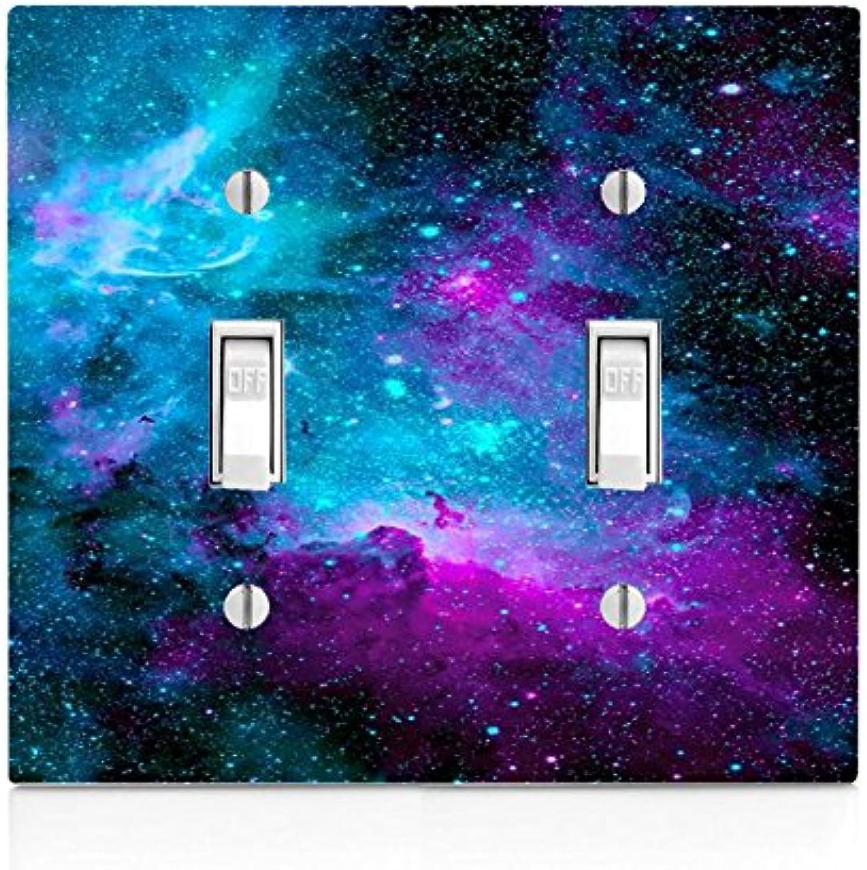 Nebula Galaxy Space Design Pattern Print Double Light Switch Plate