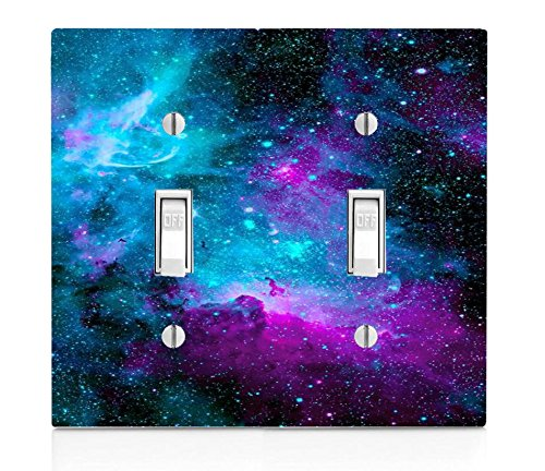 Trendy Accessories Nebula Galaxy Space Design Pattern Print Double Light Switch Plate (NOT A Decal) Actual Printed Outlet Cover