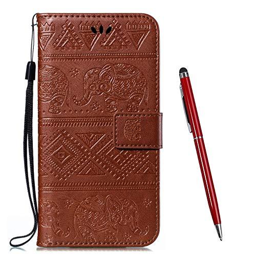TOUCASA Kompatibel mit Motorola Moto E4 Plus Hülle,Brieftasche PU Leder Flip [Ständer Kartenfach][Elefant Prägung] Hülle Handytasche Klapphülle Kratzfestes Schutz Lederhülle (Braun)