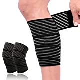 2 Pack Sports Knee Wraps, Extra Long Elastic Knee Brace Compression Bandage Brace Support for Cross Training WODs, Gym Workout, Weightlifting, Fitness & Powerlifting All-Purpose Support Wrap