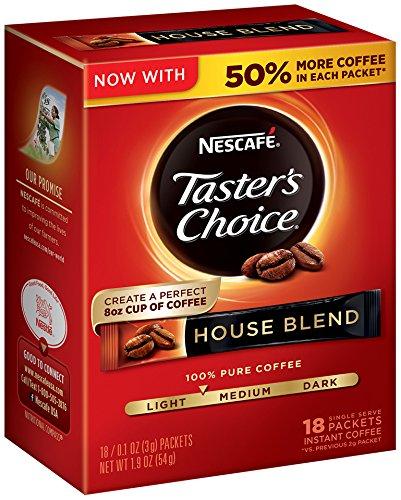 Nescafe Taster's Choice 18 Piece House Blend Instant Coffee Single Serve Sticks, 1.9 oz