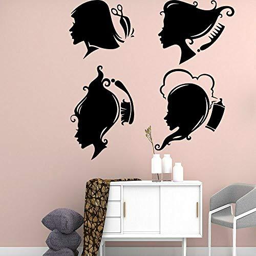 Blrpbc Adhesivos Pared Pegatinas de Pared Decoración casera autoadhesiva del Vinilo del diseño del Peinado de la Moda del salón de Pelo para la Tienda de la peluquería 60x56cm