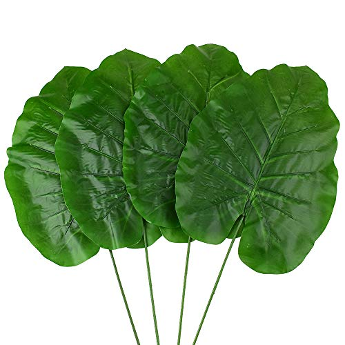 Homeford Artificial Elephant Ear Plant Picks, Dark Green, 24-Inch, 4-Count