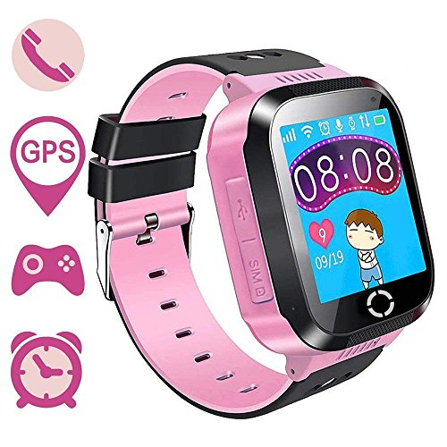bohongde Kids SmartWatch Phone Tracker Watch 1.44'' Touch Screen Sim Card Two-Way Calling Phone Smartwatch with Camera, SOS, Light for Girls Boys Children Gift Compatible for iOS and Android (Pink)