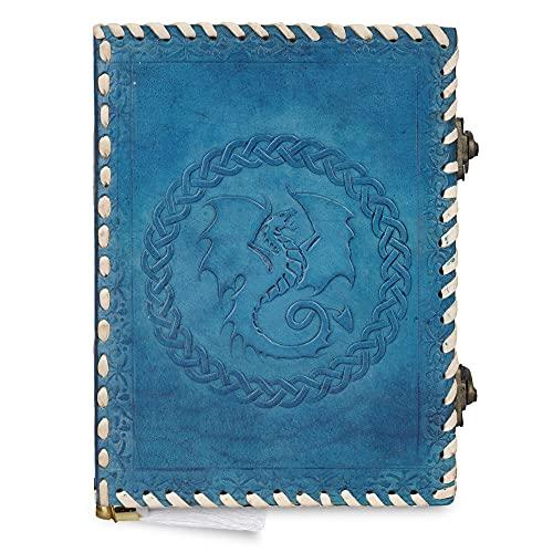 Diario de cuero A5 grabado en relieve de dragón celta hecho a mano con cerradura, con papel sin forro para escribir y hacer bocetos, regalo para hombres y mujeres, color azul