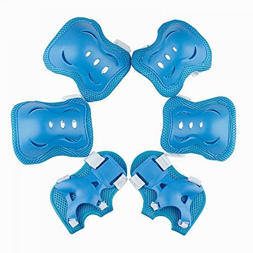 RUI Kinder Rollschuh Schutzausrüstung Fahrrad Skateboard Sportpads Kniepads Ellenbogen Waage Fahrrad Skaten Schmetterlings Schutzausrüstung 6 Sets-Sky Blue   M