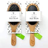 Boar Bristle Hair Brush & Detangling Hair Brush Set, Natural Wooden Bamboo Handle, For Styling, Straightening, Detangling Thick, Thin, Fine, Straight, Curly, Wavy, Long, Dry hair, Men & Women, 2 pack