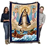 Our Lady of Charity - Nuestra Senora de la Caridad del Cobre - Patroness of Cuba - Cotton Woven Blanket Throw - Made in The USA (72x54)