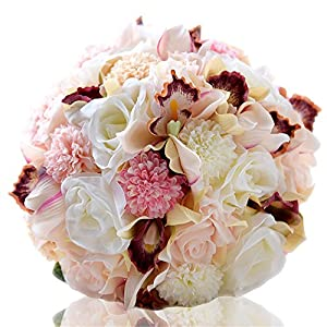 KUPARK Handmade Romantic Artificial Roses Cymbidium Dahlia Flowers Blossom Bridal Bridesmaid Bouquet Home Wedding Decoration Gift for Birthday Valentine's Day