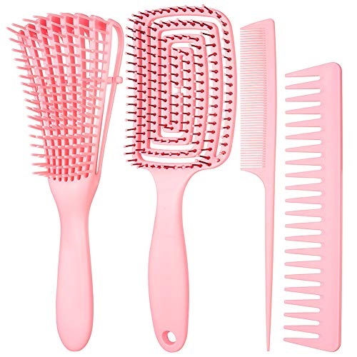 Xinzistar 4 Stücke Haarbürste Entwirrbürste Set Profi Entwirrungsbürste Stylingbürsten für Naturhaar Curly Hair Anti-Static ez Hair Detangler Brush Massagebrüste