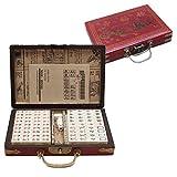 Antiguo Mahjong, 144 Azulejos de Mahjong, Traje de Mahjong, Juego de Juegos de Mahjong de Mahjong Chino portátil Matar Tiempo de aburrimiento para Adultos, Divertidos pequeños Juegos.