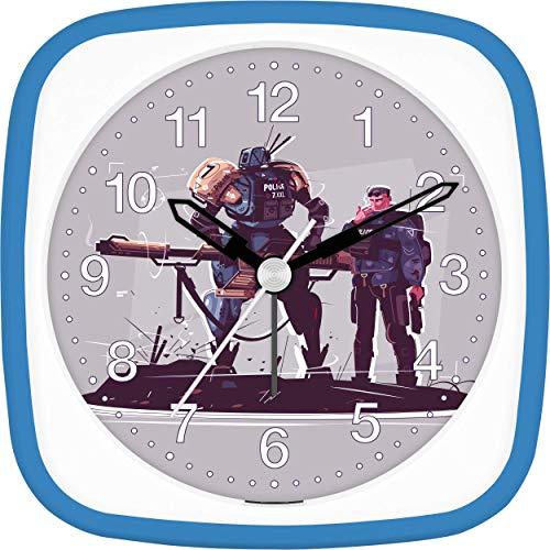 Eurotime wekker jongens politie robot politie Action, kinderwekker, lichtblauw blauw, kunststof behuizing en kunststofglas, geluidsarme wekker, zonder tikken, met licht en alarmherhaling, 27128-08