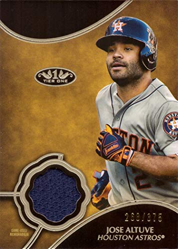 2019 Topps Tier One Relics #T1R-JA Jose Altuve Game Worn Astros Jersey Baseball Card - Only 375 made!