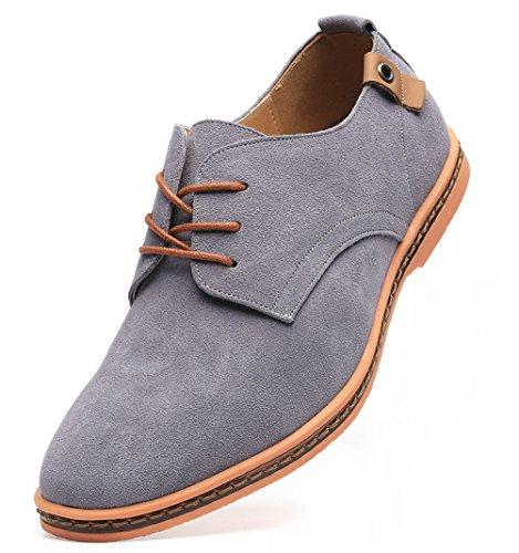 Dadawen Men's Grey Leather Oxford Shoe - 7.5 D(M) US
