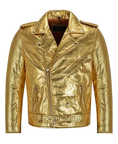 Men's Brando Slim-FIT Gold/Silver Foiled Leather Jacket Biker Racer Jacket SRMBF (XL, Gold)