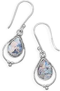 Ancient Roman Glass Earrings Dangle Small Teardrop Sterling Silver