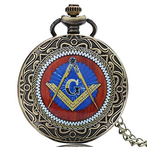 Freimaurer Taschenuhr für Männer Taschenuhr für Herren, Freimaurerei mit Anhänger, Taschenuhren für Jungen, Elegante Kette
