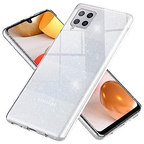 NALIA Klare Glitzerhülle kompatibel mit Samsung Galaxy A42 5G Hülle, Durchsichtige Bling Silikon Schutzhülle Diamant Handy-Tasche Dünn, Clear Glitter Hülle Handyhülle Phone Cover, Farbe:Transparent