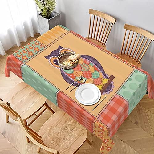 Mantel Rectangular,Búho sobre Fondo de Mosaico de Rayas manchadas Arte de diseño de artesanía Vintage,Manteles Lavable Antimanchas de Mantel para jardín Habitaciones decoración de Mesa 152x228cm
